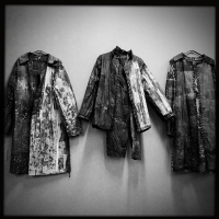 'Coats' • 5' x 9' • Newsprint, Thread, Wheat Paste, Yarn (Photo by Dru Nadler)
